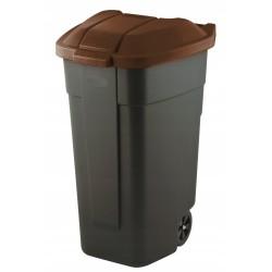 Atkritumu tvertne uz riteņiem 110L melna/brūna