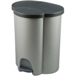 Pedāļspainis atkritumu šķirošanai Trio 40L (2x17+6L) sudraba / tumši pelēks