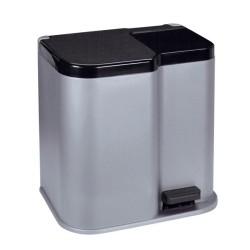 Pedāļspainis atkritumu šķirošanai Duo 15+7L sudraba / tumši pelēks
