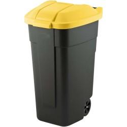 Atkritumu tvertne uz riteņiem 110L melna/dzeltena