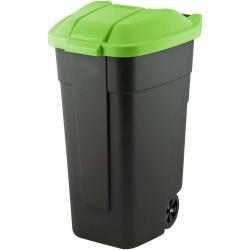 Atkritumu tvertne uz riteņiem 110L melna/zaļa