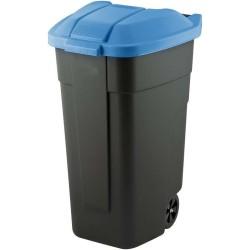 Atkritumu tvertne uz riteņiem 110L melna/zila