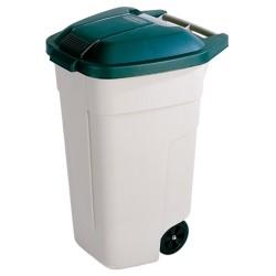 Atkritumu tvertne uz riteņiem 110L bēša/zaļa
