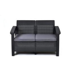 Dārza dīvāns divvietīgs Corfu Love Seat pelēks