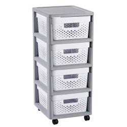 Kumode uz riteņiem ar 4 caurumotām kastēm 11L Infinity 30x36x69cm pelēka/balta