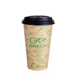 Kompostējamās kafijas krūzes ar vāciņiem Go Green 470ml 10gab./ 0,218kg