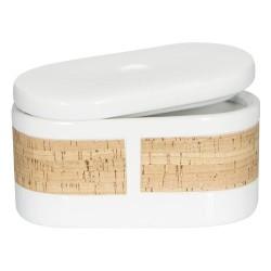 Trauks sīklietu glabāšanai Tube Nature balts porcelāns/korķis